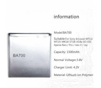 Bateria Original para Sony Ericsson BA700 para Xperia Neo V MT15i MT11i Pro  - 1