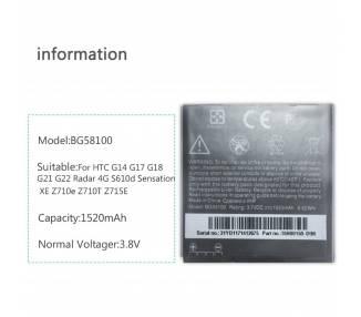 Bateria Original para HTC Sensation G14 BG58100 EVO 3D G21 G18 G14 Z710E  - 1