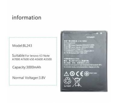 Battery For Lenovo K3 Note , Part Number: BL243  - 1