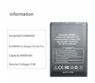 Bateria Original para DOOGEE X5 Max , Pro 4000mAh BAT16484000  - 1