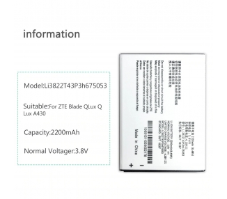 Battery For ZTE Blade A430 , Part Number: LI3822T43P3H675053  - 1