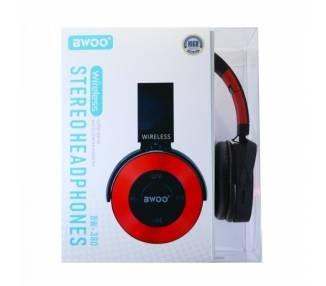 Auricular Cascos Con Bluetooth BWOO BW-380 Rojo