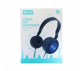Auricular Cascos Con Micrófono BWOO BX-007 Azul