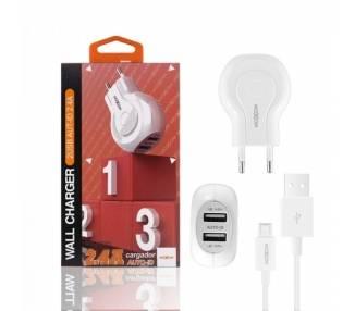 Cargador Red Moxom HC-01 Doble USB Auto ID 2.4A + Cable MicroUSB