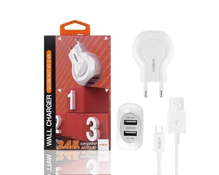 Cargador Red Moxom HC-01 Doble USB Auto ID 2.4A + Cable Tipo C