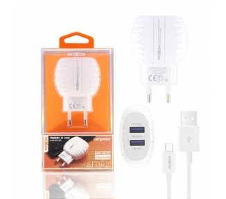 Cargador Red Moxom HC-02 Doble USB Auto ID 2.4A + Cable Tipo C