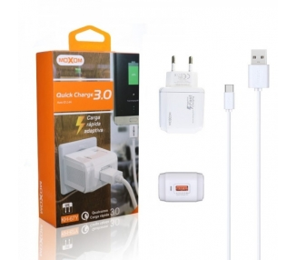 Cargador Red Moxom KH-67Y Quick Charge 3.0 + Cable Tipo C