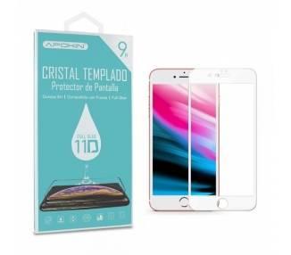 Cristal templado Full Glue 11D Premium iPhone 6P / 7P / 8 Plus Protector de Pantalla Curvo Blanco