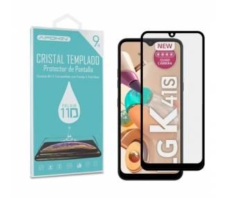 Cristal templado Full Glue 11D Premium LG K41S Protector de Pantalla Curvo Negro