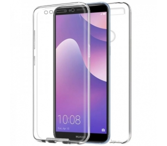 Funda Doble Huawei Y7 2018 Silicona Transparente Delantera y Trasera