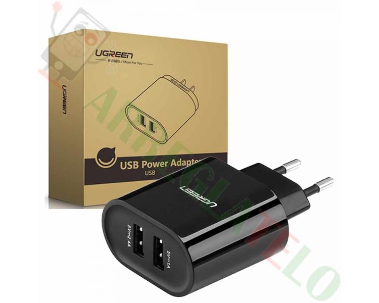 Ugreen 20383 - Ładowarka z 2 portami USB (17 W / 5 V, 3,4 A) Czarny / Szybkie ładowanie