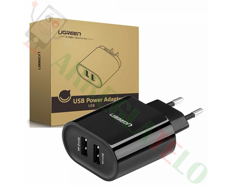 Ugreen 20383 - Oplader met 2 USB-poorten (17W / 5V, 3,4 A) Zwart / Quick Charge  - 1