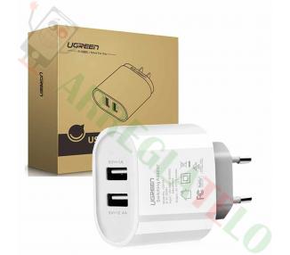 Ugreen 20384 - Cargador con 2 puertos USB (17W/5V, 3.4 A) Blanco / Carga Rapida