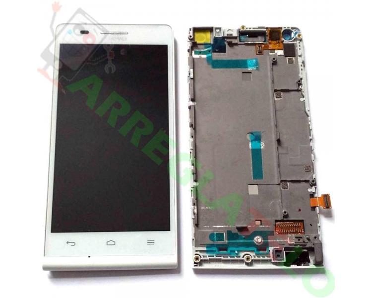 Bildschirm Display mit Rahmen für Huawei Ascend G6 Weiß ARREGLATELO - 1